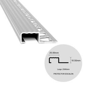 Protector nariz escalon aluminio cromo mate 10.5mm x 20mm x 2500mm