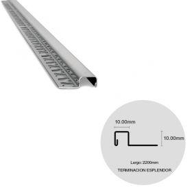 Varilla terminacion cuadrada pared y revestimiento acero inoxidable esplendor brillante 0.5mm x 10mm x 10mm x 2200mm