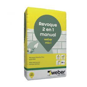 Revoque Weber Mix I 2 en 1 grueso-fino interior gris bolsa x 30kg
