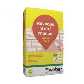 Revoque Weber Mix E 3 en 1 grueso-fino-impermeabilizante exterior gris bolsa x 30kg