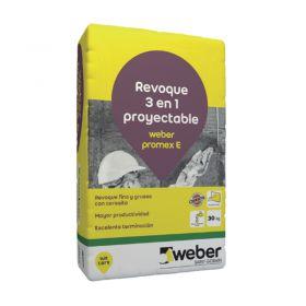 Revoque Weber Promex E 3 en 1 grueso-fino-impermeabilizante proyectable exterior gris bolsa x 30kg
