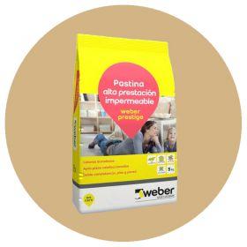 Pastina Weber Prestige Altas Prestaciones impermeable porcellanatos beige bolsa x 5kg