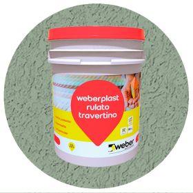 Revestimiento plastico texturado Weberplast RTF fino verde hormigon balde x 30kg