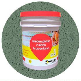 Revestimiento plastico texturado Weberplast RTF fino verde musgo balde x 30kg