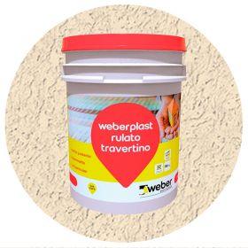 Revestimiento plastico texturado Weberplast RTF fino piedra paris balde x 30kg