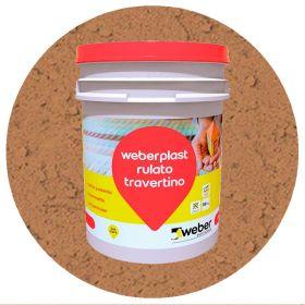 Revestimiento plastico texturado Weberplast RTG grueso marron portillo balde x 30kg