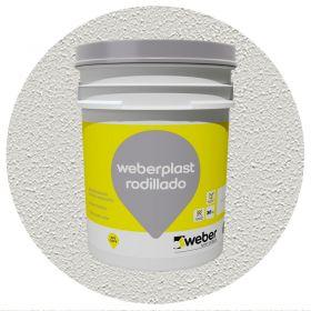 Revestimiento plastico Weberplast Rodillado Texturado gris perla balde x 30kg