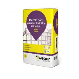Mortero asiento y tomado junta ladrillo vidrio Weber Glass impermeable blanco bolsa x 25kg