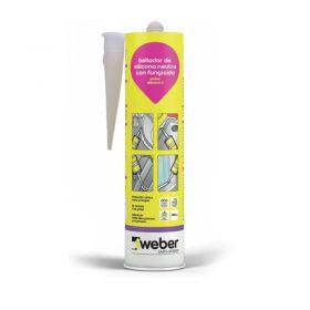 Sellador Weber Silicona C neutra fungicida interior/exterior transparente cartucho x 300ml