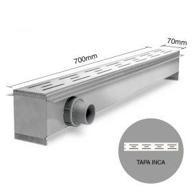 Rejilla desagüe lineal ducha 70 acero inoxidable tapa inca 8.5mm x 70mm x 700mm